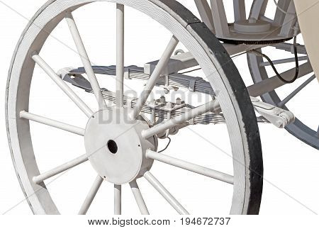 Traditional Wooden Wheel on an Old Horse Cart
