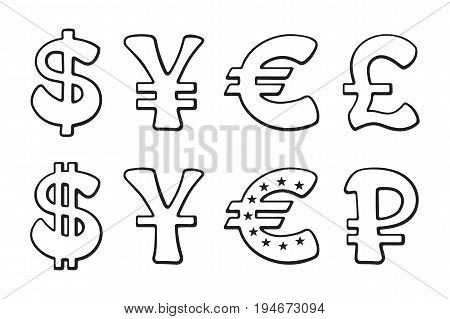 Sign of American dollar, European euro, Japanese yen and Chinese yuan, Russian ruble and British pound. Vector illustration set. Hand drawn doodles signs of world currencies