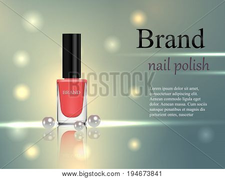 Design Of Cosmetics, Beige Nail Polish With Pearls On A Gentle Background With Bright Rays. Advertis