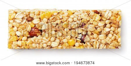 Top view of healthy granola bar (muesli or cereal bar) isolated on white background. Granola bar with clipping path