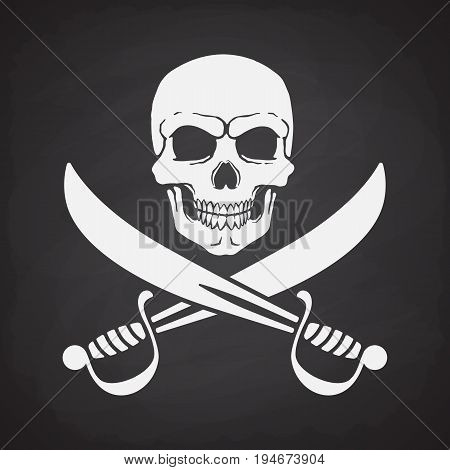 Silhouette of skull Jolly Roger with crossed sabers at the bottom on blackboard background. Vector illustration. Danger and warning sign. Symbol on the flag of pirates