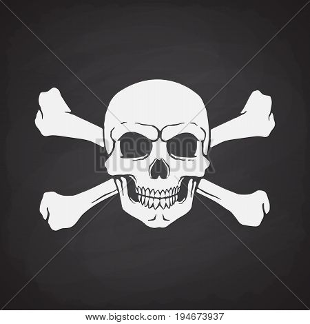 Silhouette of skull Jolly Roger with crossbones behind on blackboard background. Vector illustration. Danger and warning sign. Symbol on the flag of pirates