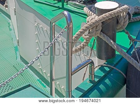 bollard of a boat on a sailing-vessel