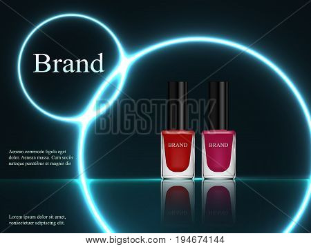 Design Of Cosmetics, Set, Nail Polish Red And Purple On A Dark Background With Blue Neon Light. Adve