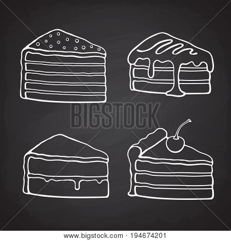 Hand drawn doodles of piece of cakes with cream, glaze, fondant, confiture and cherry. Vector illustration set. Desserts and sweets.  Cartoon sketch. Design elements for menus, signboards, showcases