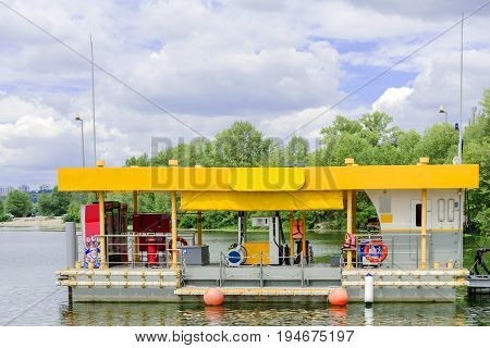 Kiev. Ukraine. July 2017: - Filling station for small boats. Refueling for boats and yachts on the water.