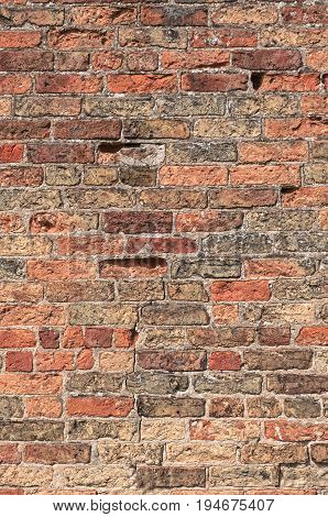 Old Damaged Brick Wall with copy space