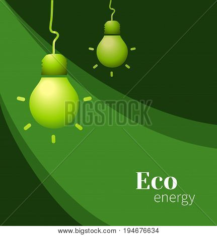 Vector lamp on dark green background. Eco energy. Vector illustration for the cover, or books. Eco-friendly energy. The conservation of energy.