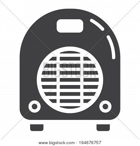 Electric fan heater solid icon, household and appliance, vector graphics, a glyph pattern on a white background, eps 10.