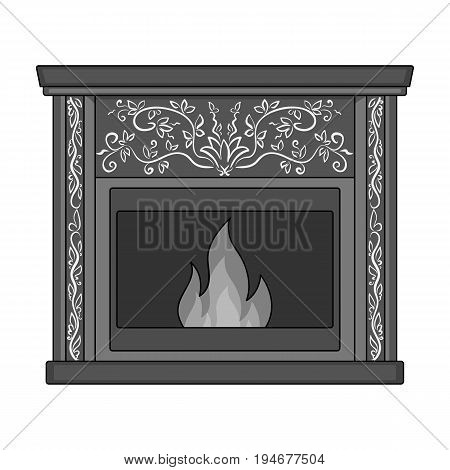 Fire, warmth and comfort. Fireplace single icon in monochrome style vector symbol stock illustration .