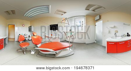 Panorama view of european modern fashionable dental clinic 360 lense degrees equidistant spherical projection interior inside dental office beige and orange colours dentist chair seat armchair