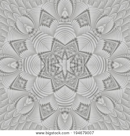 White stucco fretwork Kaleidoscope pattern abstract background. Stucco pattern. White plaster work kaleidoscope pattern. Abstract plaster ornament mosaic texture. Shaped plaster surface background