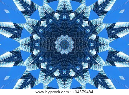 Blue navy kaleidoscope pattern abstract background. Circle pattern. Abstract fractal kaleidoscope background. Abstract fractal pattern geometrical symmetrical ornament. Kaleidoscope blue pattern