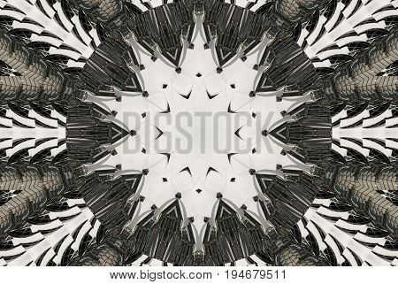 White black Kaleidoscope pattern abstract background. Circle pattern. Abstract fractal kaleidoscope background. Abstract fractal pattern geometrical symmetrical ornament. Kaleidoscope pattern