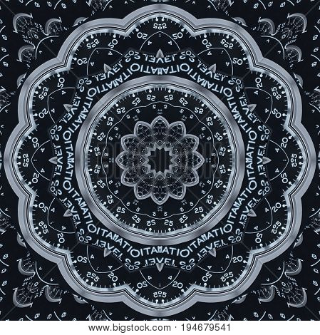 Modern silver black clock kaleidoscope pattern abstract background. Abstract surreal clock pattern kaleidoscope Black watch pattern background texture. Abstract clock pattern Abstract clock face