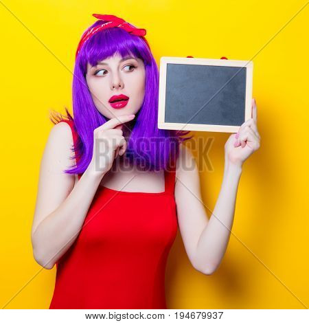 Girl With Purple Color Hair And Blackboard