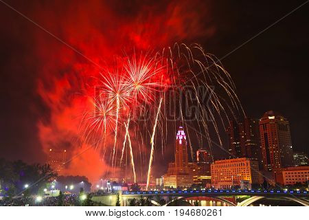 Spectacular fireworks along the Scioto River in Columbus, Ohio for the annual Red, White and Boom celebration