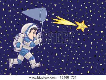 Boy astronaut chasing a comet with a net