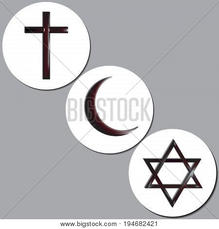 Symbols of the world religions - Christianity Islam and Judaism. Vector Illustration