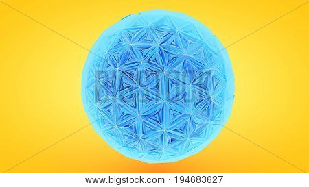 Colorfull Triangulation Sphere, Deformed Surface, 3D Rendering