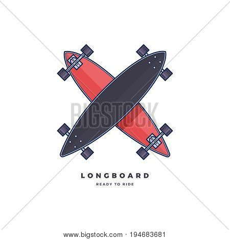 Logo template longboard isolated on white background. Vector illustration.