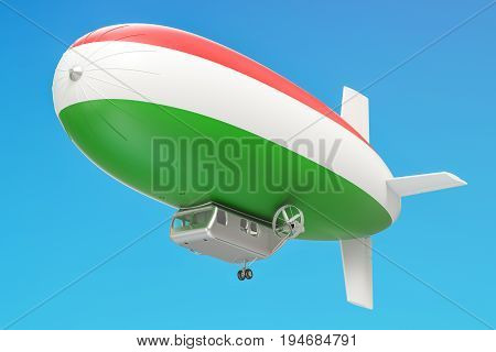 Airship or dirigible balloon with Hungarian flag 3D rendering
