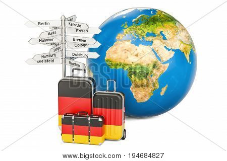 Germany travel concept. Suitcases with German flag signpost and Earth globe. 3D rendering