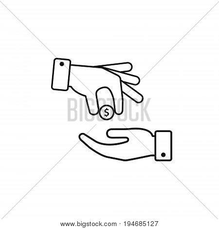 Hand gives money coin to other person icon give alms donate web outline icon. Vector illustration.