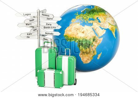 Nigeria travel concept. Suitcases with Nigerian flag signpost and Earth globe. 3D rendering