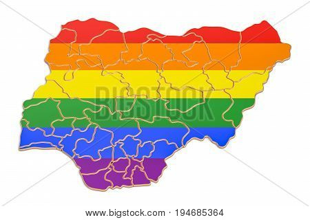 Nigerian map with LGBT flag 3D rendering