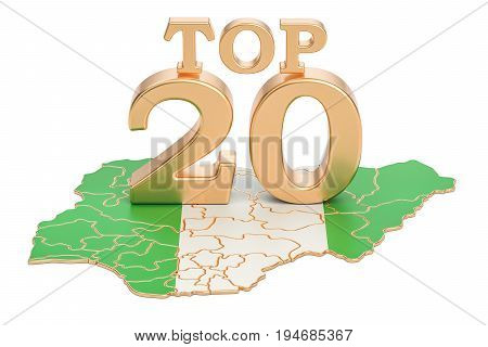 Nigerian Top 20 concept 3D rendering isolated on white background