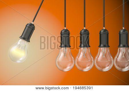 Pendulum from lightbulbs 3D rendering isolated on orange background