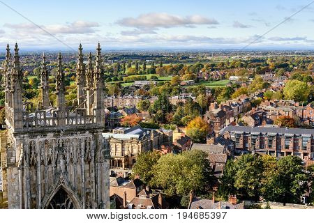 View of church spires and the city of York England from atop York Minster
