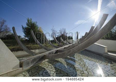 View of stylized boat hull in a park