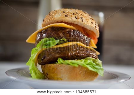 Close-up of hamburger in plate
