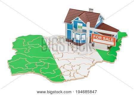 Property for sale and rent in Nigeria concept. Real Estate Sign 3D rendering isolated on white background