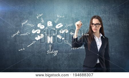 Beauty Girl In A Suit Standing Near Wall And Writing A Business Idea Sketch Drawn On It. Concept Of
