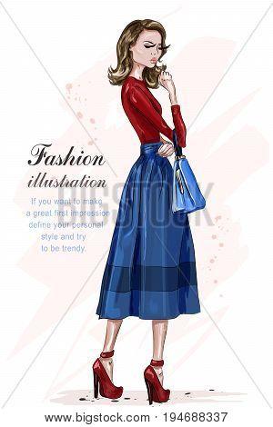 Beautiful stylish woman in fashion clothes. Fashion model posing. Hand drawn fashion girl. Sketch. Vector illustration.