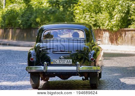 Lviv Ukraine - June 4 2017:Old retro car ZIM 12 taking participation in race Leopolis grand prix 2017 Ukraine.
