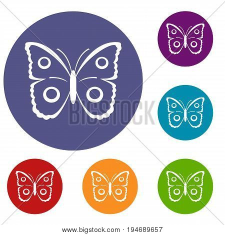 Butterfly peacock eye icons set in flat circle reb, blue and green color for web