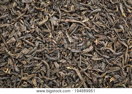 texture of Chinese congou black tea, macro image of loose leaves