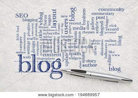 blogging and blog design word cloud - handwriting on a white textured lokta paper