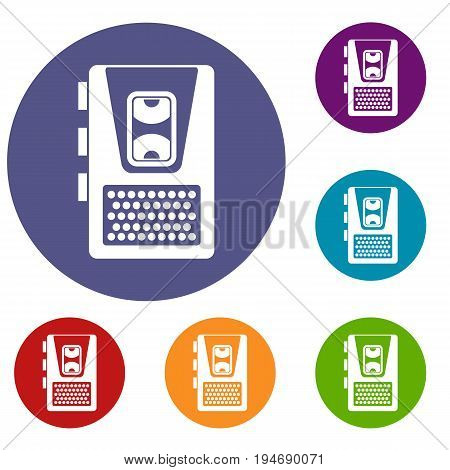 Dictaphone icons set in flat circle reb, blue and green color for web