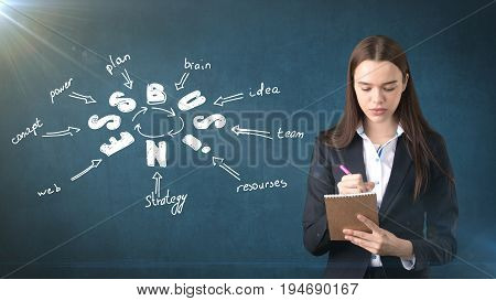 Woman In A Suit Holding Notebook Near Wall With A Business Idea Sketch Drawn On It. Concept Of A Suc