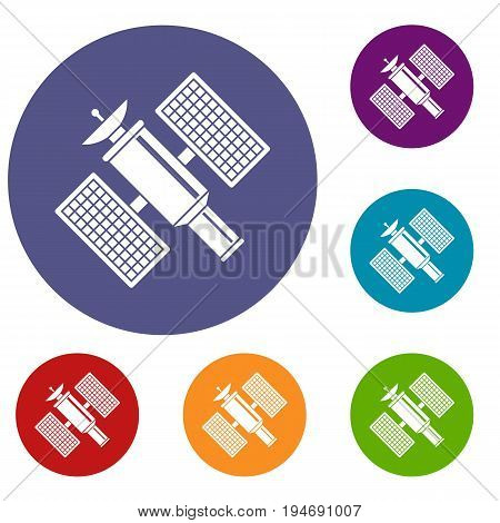 Space satellite icons set in flat circle reb, blue and green color for web