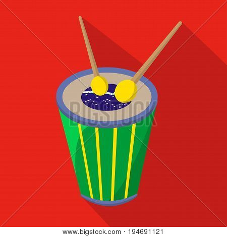 Brazilian drum cartoon flat icon. Brazil. Vector illustration.design element