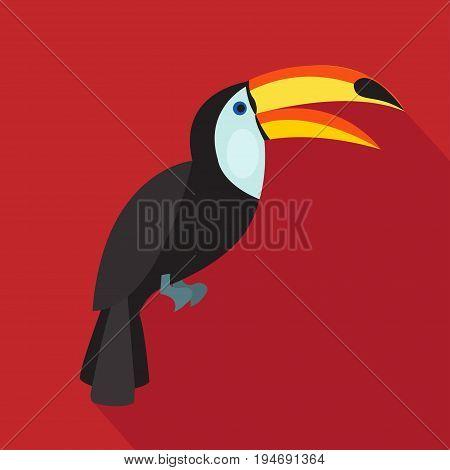 Toucan cartoon flat icon. Brazil. Vector illustration.design element