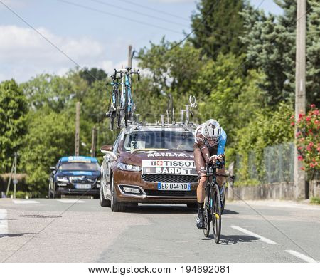 Bourgoin-Jallieu France - 07 May 2017: The French cyclist Romain Bardet of AG2R La Mondiale Team riding during the time trial stage 4 of Criterium du Dauphine 2017.