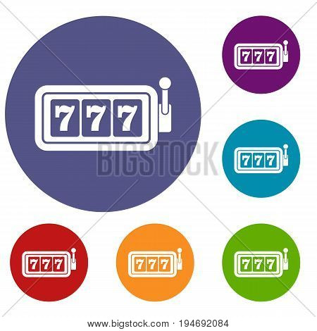 Lucky seven on slot machine icons set in flat circle reb, blue and green color for web