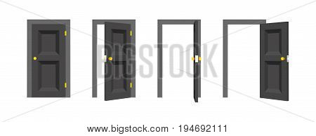 Doors set. Front view opened and closed the door. Isolated vector illustration